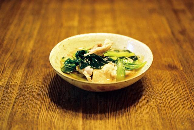 青梗菜と豚肉の薄味煮
