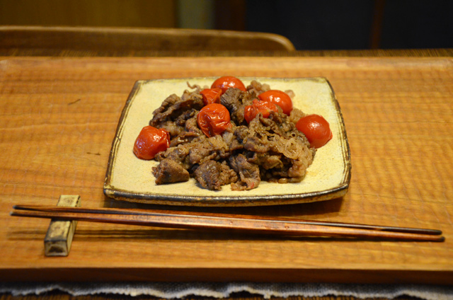 牛肉とトマトの塩麹炒め