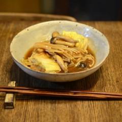 白菜と鶏ひき肉の重ね煮(きのこあんかけ)