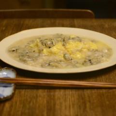 卵焼きのホタテとアサリあんかけ