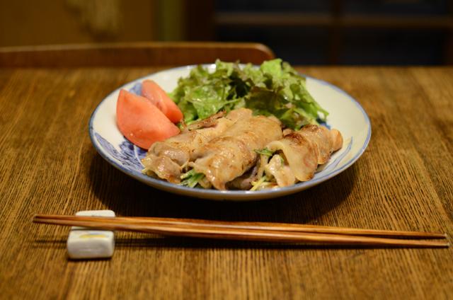 水菜とえのきの梅風味豚肉巻き