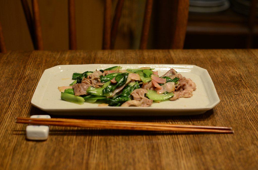 青梗菜とベーコンの中華炒め